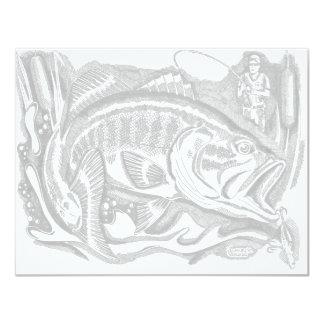 Forellenbarsch in den Cattails 10,8 X 14 Cm Einladungskarte