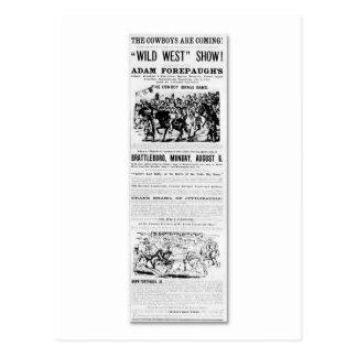 Forepaughs wilde Westshow-Anzeige Postkarte