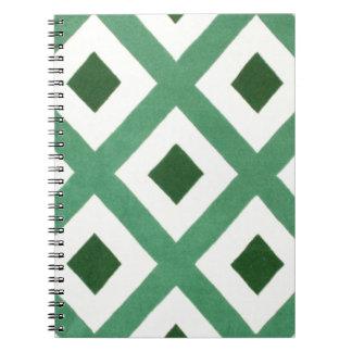 Forest Green-Dreieck-Muster Spiral Notizblock
