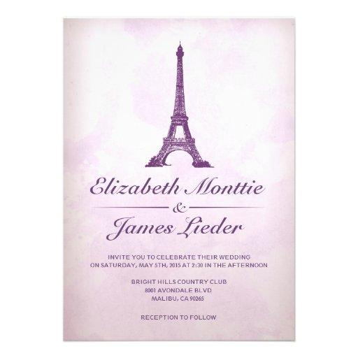 Formale Eiffelturm-Hochzeits-Einladungen