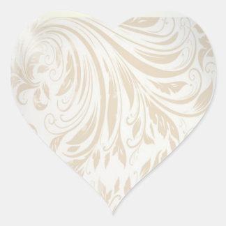 Formale Perlen-weiße Damast-Gastgeschenk Hochzeit Herz-Aufkleber