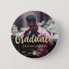 Formales Foto des Schwarz-u. GoldAbschluss-Party-| Runder Button 5,1 Cm