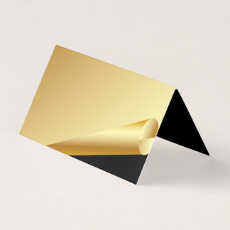 Formales Gold und schwarze Hochzeit gefaltete Platzkarte