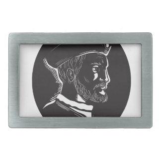 Forscher-Oval-Holzschnitt Jacques Cartier Rechteckige Gürtelschnallen