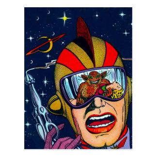 Förster-tireur des Kitsch-Vintager Raum-Sci-FI Postkarte