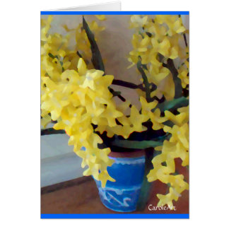 """Forsythia-Gelb, blauer Topf "" Karte"