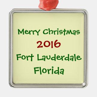 FORT LAUDERDALE-FLORIDA-WEIHNACHTSverzierung 2016 Silbernes Ornament