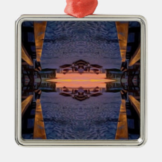 Fort- Myersstrand psychedelisch Quadratisches Silberfarbenes Ornament