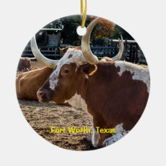 Fort Worth Texas Longhorns Keramik Ornament