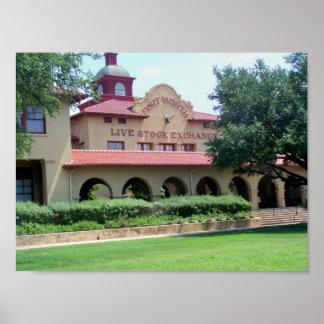 Fort- Worthviehbestand tauschen Gebäude Texas aus Poster