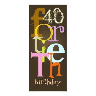 Fortieth Geburtstags-Party Einladungen 10,2 X 23,5 Cm Einladungskarte