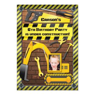 Foto-Bau-Geburtstags-Party-Werkzeuge und Gräber 12,7 X 17,8 Cm Einladungskarte