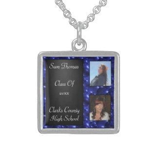 Foto-blaue Glasblasen der Abschluss-Tafel-2 Sterling Silberkette