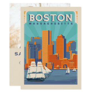 Foto Bostons, Massachusetts | Save the Date - 14 X 19,5 Cm Einladungskarte