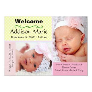 Foto-Collage des Pastell-2 - Geburts-Mitteilung 12,7 X 17,8 Cm Einladungskarte