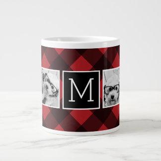 Foto-Collage - Monogramm-roter schwarzer Büffel Jumbo-Tasse