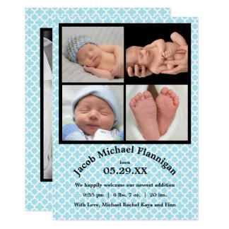 Foto-Collagen-blauer Junge - Geburts-Mitteilung Karte