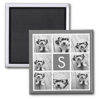 Foto-Collagen-Gewohnheits-Monogramm des Quadratischer Magnet