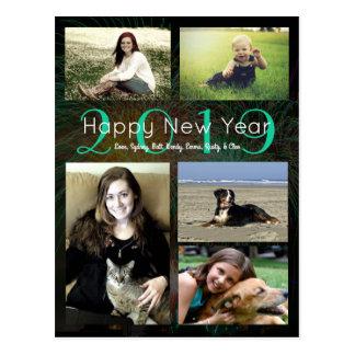 Foto-Collagen-grünes glückliches neues Neonjahr Postkarte
