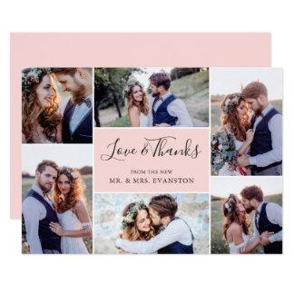 Foto-Collagen-Hochzeit danken Ihnen, die flache Karte