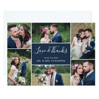 Foto-Collagen-Hochzeit danken Ihnen flache Marine Karte