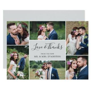 Foto-Collagen-Hochzeit danken Ihnen flaches Grau Karte