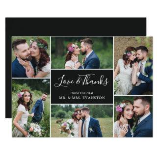 Foto-Collagen-Hochzeit danken Ihnen flaches Karte