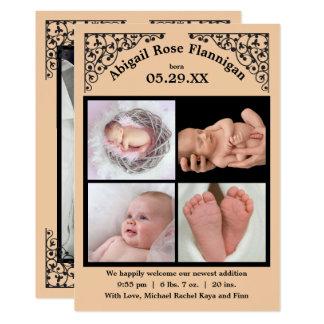 Foto-Collagen-Pfirsich-Spitze - Geburts-Mitteilung Karte