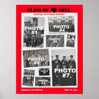 Foto-Collagen-Plakat-Rot des Abschluss-9 Poster