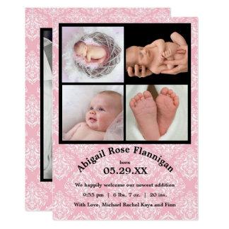 Foto-Collagen-Rosa Damast-Geburt Mitteilung Karte
