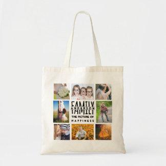 Foto-Collagen-Schablone der Familien-8 plus Budget Stoffbeutel