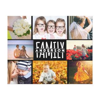 Foto-Collagen-Schablone der Familien-8 plus Leinwanddruck