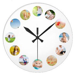 Foto-Collagen-Wand-Uhr mit Ihren Bildern Große Wanduhr