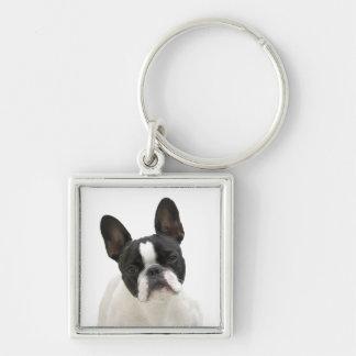 Foto der französischen Bulldogge niedliches Silberfarbener Quadratischer Schlüsselanhänger