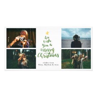 Foto der frohe Weihnacht-Grün-Typografie-vier Karte