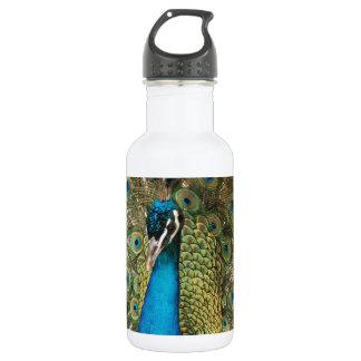 Foto des schönen Pfaus mit verbreiteten Federn Edelstahlflasche