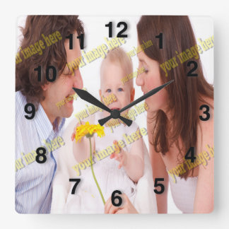 Foto-Familien-Budget-Schablone Quadratische Wanduhr