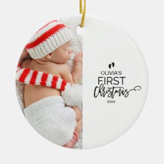 Foto-Feiertag des Babys erster Weihnachts Rundes Keramik Ornament
