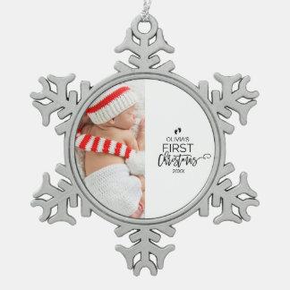 Foto-Feiertag des Babys erster Weihnachts Schneeflocken Zinn-Ornament