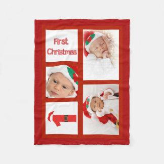 Foto-Fleece-Decke des Babys erste Weihnachts Fleecedecke