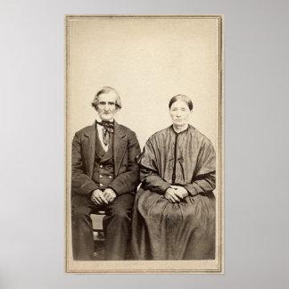 Foto From 1860 des alte Paar-Vintages Albumen-CDV Poster