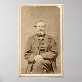 Foto From 1860 des alter Mann-Vintages Albumen-CDV Poster