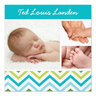 Foto-Geburts-Mitteilung | des Baby-Jungen-4 Quadratische 13,3 Cm Einladungskarte