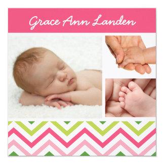 Foto-Geburts-Mitteilung | des Baby-Mädchen-4 Quadratische 13,3 Cm Einladungskarte