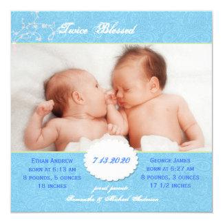Foto-Geburts-Mitteilung für die Doppeljungen Quadratische 13,3 Cm Einladungskarte