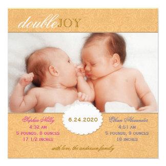 Foto-Geburts-Mitteilung für Zwillinge orange Personalisierte Ankündigungskarte