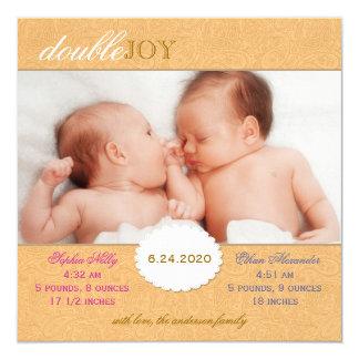 Foto-Geburts-Mitteilung für Zwillinge (orange Quadratische 13,3 Cm Einladungskarte