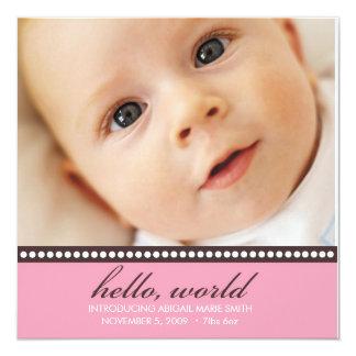 Foto-Geburts-Mitteilung Quadratische 13,3 Cm Einladungskarte