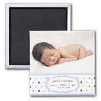 Foto-Geburts-Mitteilungs-Magneten - Baby-Junge Quadratischer Magnet
