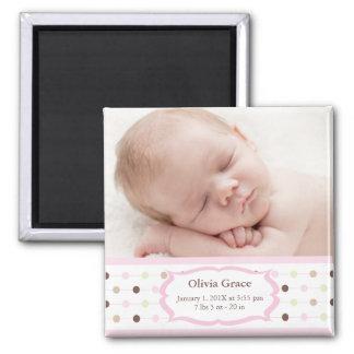 Foto-Geburts-Mitteilungs-Magneten - Baby-Mädchen Quadratischer Magnet